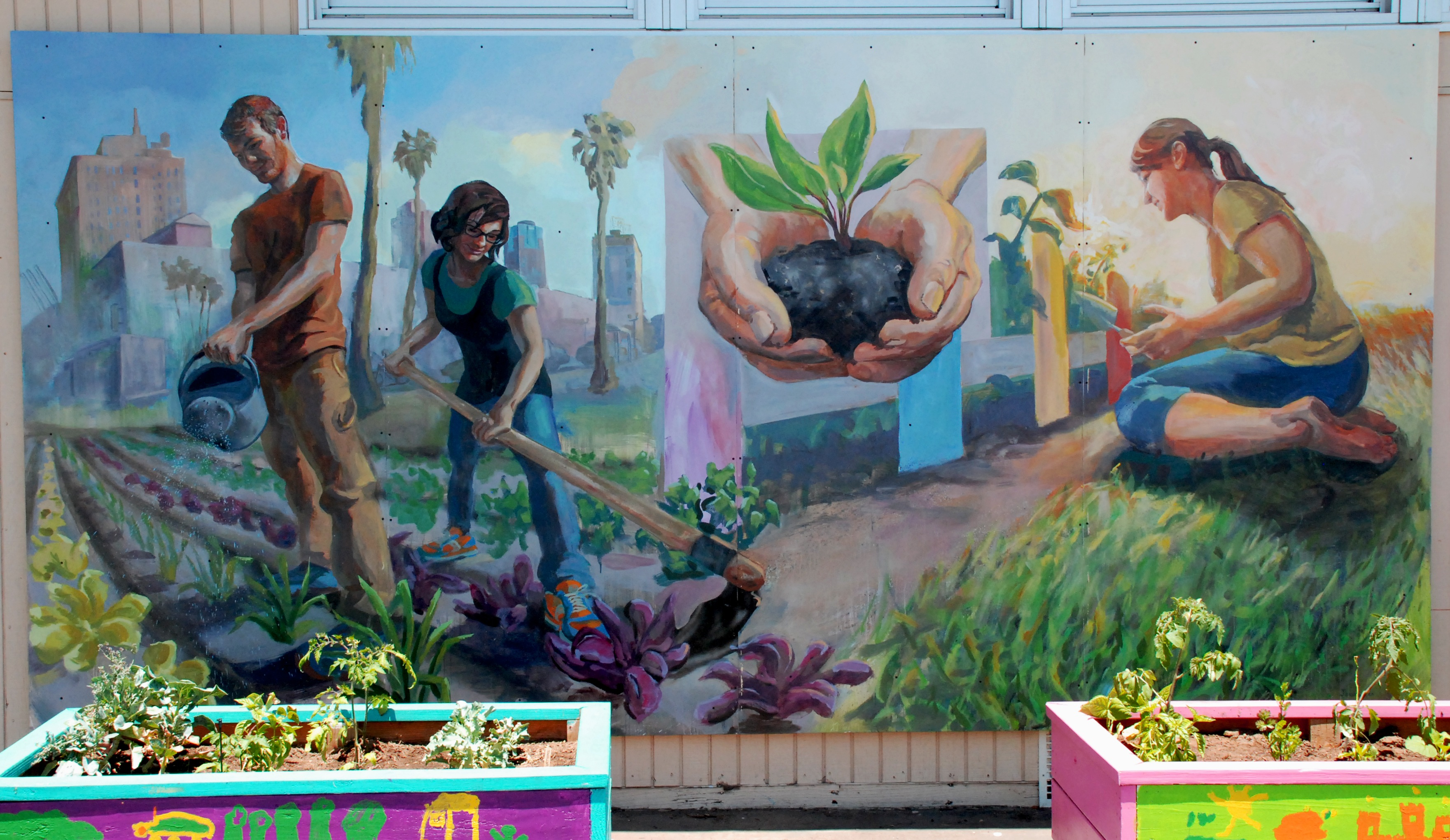 Jessica lah seeds of change mural for roosevelt public for Elementary school mural